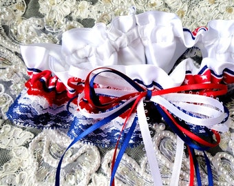 Red White Blue Lace and Satin Triple Tiered Stars and Stripes Lace Garter-Fourth of July-Military-Veteran-True Colors-OOAK