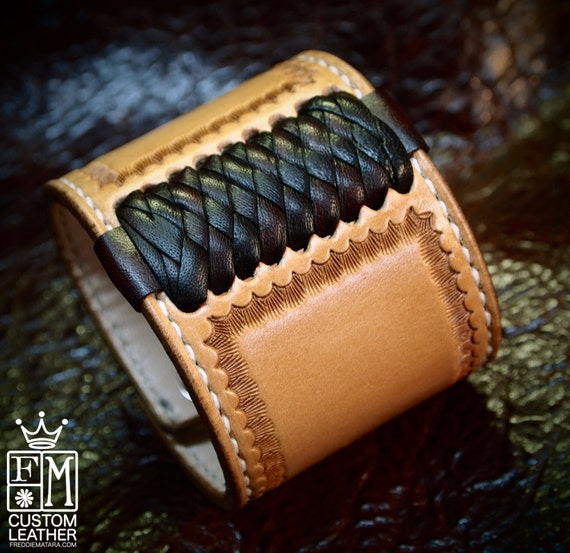 Leather cuff Bracelet American Western Saddle style wristband Handstitched Braided Stamped Handcrafted for YOU in NYC by Freddie Matara!