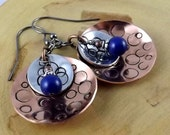 Moonscape in blue Copper and Aluminum hand stamped layered earrings featuring Swarovski pearls