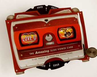 Love You Pop Up Card. View-tastic desert sunset viewmaster card for dad, father, boyfriend, husband, man, girlfriend, wife, anniversary.