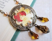 Alphonse Mucha - Emerald - Medallion Necklace - Art Nouveau Collection