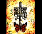 "Print 11x14"" - Skeleton - Skull Skeleton Butterfly Dark Art Lowbrow Art Wings Surreal Fantasy Gothic Pop Art Bones Taxidermy Rose Insect"