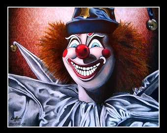 "Print 11x14"" - Robbies Clown - Poltergiest Ghost Paranormal Clowns Dark Art Horror Pop Art Lowbrow Monster 80s Scary Haunted Harlequin"