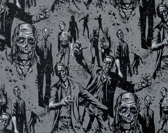 Alexander Henry ZOMBIE! Charcoal Print Cotton Fabric 1/2 yard