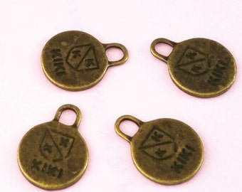 12pc 16x12mm antique bronze finish rounded charms-10017