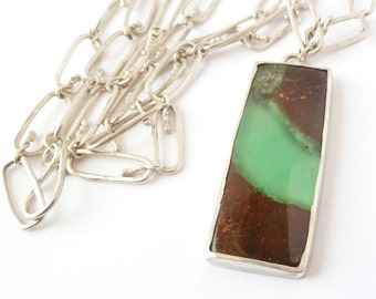 Chrysoprase Necklace, Handmade Hammered Silver Chain, Bold Necklace, Gemstone Jewelry, Long Statement Necklace, Large Chrysoprase Pendant