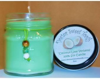 Coconut Lime Verbena Soy Mason Jar Candle 8oz