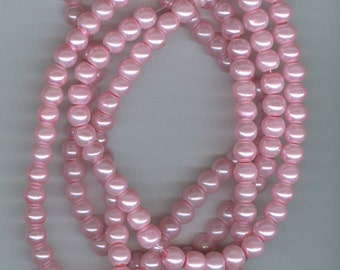 6mm Pink Glass Pearl Round Beads