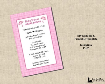 Baby Girl Shower Invitation 4x6 - Plaid Pink - Instant Download - MS Word Printable Editable Digital Template