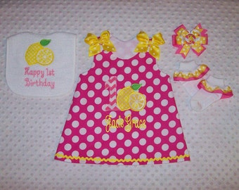 Pink Lemonade Birthday Number Applique Monogram Pink Polka Dot A-Line Dress - birthday party