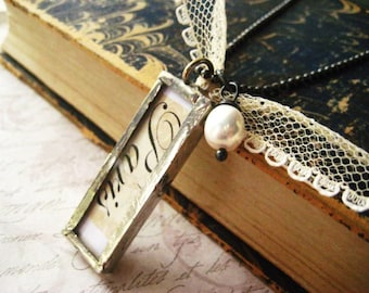 Paris Necklace, Glass Pendant, Sterling SIlver, Vintage Lace,Natural Pearl Oxidized Necklace, Handmade Charm, Beaded Chain, Fine SIlver
