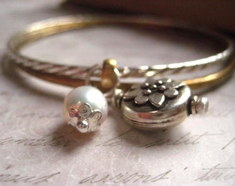 Bangle Bracelet, Mixed Metals, Vintage Silver tone, Artisan Brass, Sterling Silver, Bali Bead, Natural Pearl, Bali Charm, Boho Fashion