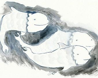 Three Blue Fish / Original Illustration by Emma Kidd / monochrome