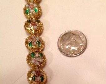 Cloisonne GOLDTONE beads with flower (10) 11MM