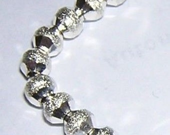 SILVER Plated STARDUST cone beads with shiny faceted ends (26) 4MM
