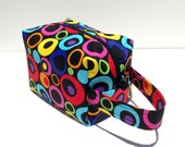 HOLIDAY SALE - Multi Colored Circle Dots Zipper Box Knitting Project Bag