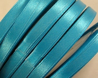 """Satin Ribbon CLOSEOUT SALE  1/4"""" Bright Turquoise Blue - 25 yard spool (R13A) for Crafts DIY Wedding Ribbon Wands Streamers Party Decor"""