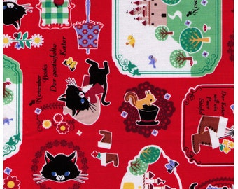 HALF YARD - Puss in Boots on Red - November Books - Push Pin Kokka - der gestiefelte kater - Japanese Fabric