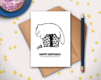funny cat birthday card printable instant download cat, Birthday card