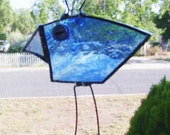 sun catcher bird blue folk art