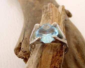Sterling Silver 925 Ring Blue Stone 4 (1.8g)
