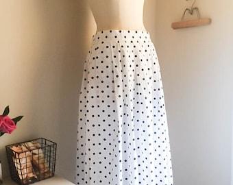 Sweet Vintage 70s 80s Navy Polka Dot Flared Midi Skirt