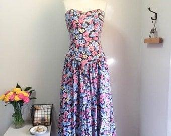 Sweet Vintage 80s Floral Strapless Frock Dress