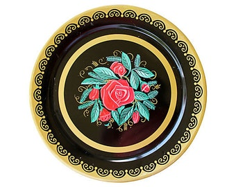 Large Decorative Tray - Vintage Roses Tray - Round Rose Tray - Black Gold Red