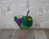 Bird, Handmade, Needle Felted, Wool,Green, Fiber Art Figure, Fantasy,