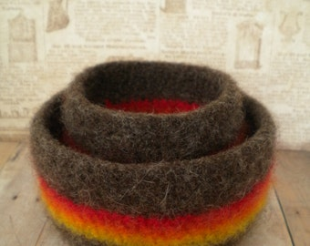 Felted, Wool, Handmade, Autumn Colors,  Whatnot/Ring  Bowls, Set of  2, Brown