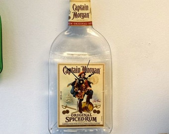 Captain Morgan clock, Captain Morgan Melted Bottle Clock,wall clock,recycled,gift for him or her