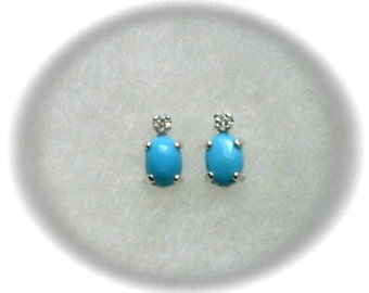Sleeping Beauty Turquoise 7x5mm Cabochons with 2mm White Topaz Gemstone Accents in 925 Sterling Silver Stud Earrings