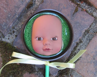 Brown and Green - upcycled baby doll stick