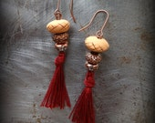 Tiny Tassel Earrings, Sparkles and Handmade Clay Bead, Antique Copper, Small,