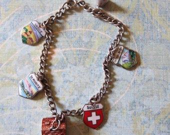 Vintage Switzerland-Swiss Enameled Travel Shield and Chalet Souvenir Charm Bracelet, 800 Sterling, Six Charms