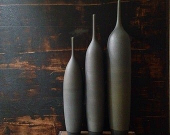 MADE TO ORDER-  3 huge skyscraper bottle vases in slate matte by sara paloma