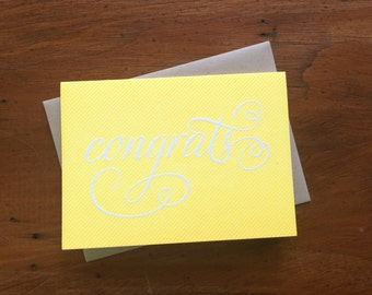 Congrats Pinstripe, single letterpress card