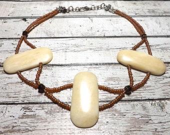 Bone Necklace Bone Choker Bone Jewelry Tribal Necklace Tribal Choker Tribal Jewelry Primitive Necklace Primitive Jewelry Primitive Choker