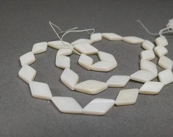10x12mm Flat Diamond Natural Shell Beads