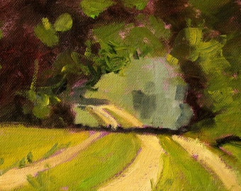 Landscape Oil Painting, Original Summer Scene, Rural Road, Small 6x8, Green Country Trees, Forest Trail, Home Decor, Warm Path,