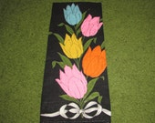Vintage Black Linen Kitchen Tea Hand Towel with Brightly Colored Tulips, 60s, pink, yellow, orange, collectible, kitchen decor