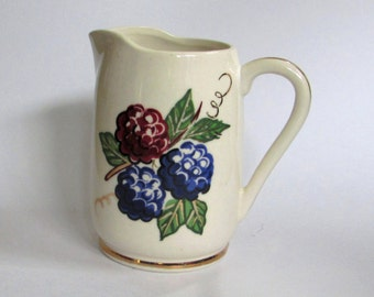 Vintage Souvenir Knott's Berry Farm Small Ceramic Syrup Pitcher or Creamer, 60s, hand painted berries with gold trim, California theme park