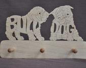 English Bulldog  Dog Leash or Key Holder Wooden Hand Cut