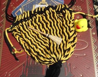 Handwoven Sprang Bag Yellow Black Rennfair Reenactors Cosplay