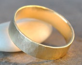 ready to ship - forest ring - size 12 men's wedding band in 14k gold, organic brushed satin finish