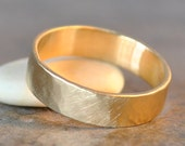 porter ring - hammered brushed satin men's wedding band in 14 yellow gold, recycled metals, eco-friendly