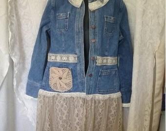Shabby Chic Upcycle Lace Denim Jacket