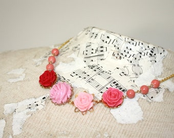 Coral and pink necklace, pink necklace, bright pink flower and bead necklace, coral and pink wedding bridesmaid necklace