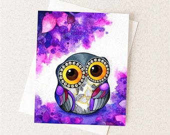 Owl in Purple Blossoms - Watercolor Flowers - Blank All Occiasion Card
