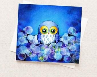 Cute Blue Owl in Flower Dandelion Field - Greeting Card - Any Occasion - Blank Inside